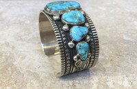 BRACELETS NAVAJO TURQUOISE 7 STONE SMALL CUFF Guy Hoskie