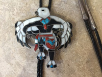BOLO TIE ZUNI MULTI-COLOR INLAY EAGLE DANCER ADAKAI SOLD