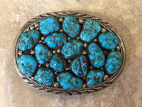 BELT BUCKLES NAVAJO MULTI-STONE TURQUOISE NUGGET OVAL