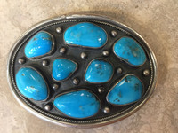 BELT BUCKLES NAVAJO MULTI STONE HIGH GRADE BLUE GEM TURQUOISE