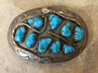 BELT BUCKLE ZUNI MULTI-STONE TURQUOISE DOUBLE SNAKE PATTERN DESIGN_1 Effie C.
