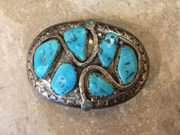 BELT BUCKLES ZUNI MULTI-STONE TURQUOISE DOUBLE PATTERN DESIGN_2 Effie C.