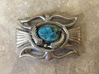 BELT BUCKLE NAVAJO RECTANGULAR TURQUOISE SILER DOUBLE LEAF E