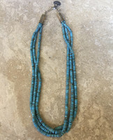 SANTO DOMINGO 3 STRAND TURQUOISE BEADED NECKLACE Robert Tenerio