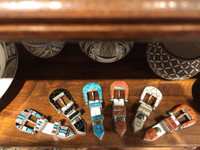 RANGER STYLE NAVAJO MULTI-COLOR INLAY BELT BUCKLES L-R   1-6