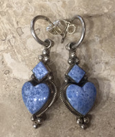 Earrings Denim Lapis Sterling Silver Dangle Diamond Heart Hoop Don Lucas  SOLD