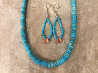 Necklace Earring Set Santo Domingo Natural Graduated Turquoise Heishi Choker_1 Ray Lovato SOLD