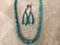 Necklace Earring Set Santo Domingo Natural Graduated Turquoise Heishi Choker_2 Ray Lovato