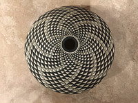 POTTERY LAGUNA BLACK AND WHITE SEED POT Robert Kasero SOLD
