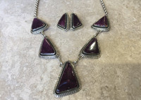 NECKLACE EARRING SET NAVAJO RARE PURPLE SPINY OYSTER SHELL TRIANGULAR SHAPED Spencer
