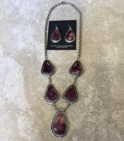 NECKLACE EARRING SET NAVAJO RARE PURPLE SPINY OYSTER SHELL PEAR SHAPED MB