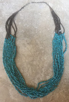 NECKLACE SANTO DOMINGO TURQUOISE SMALL NUGGET 10 STRAND NECKLACE