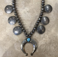 SQUASH BLOSSOM NECKLACE NAVAJO 1 TURQUOISE STONE 6 MORGAN SILVER DOLLARS 112 LIBERTY MERCURY DIMES SOLD