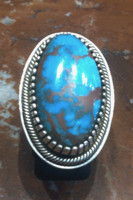 RING NAVAJO TURQUOISE OVAL STERLING SILVER TOMMY JACKSON
