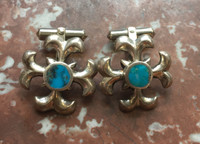 Navajo Turquoise Silver SandCast Pawn Cuff Links