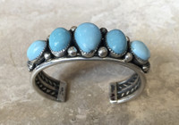 BRACELETS NAVAJO 5 STONE TURQUOISE STERLING SILVER JEANETTE DALE_1