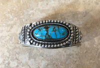 BRACELETS NAVAJO SILVER SINGLE OVAL STONE DOMED TURQUOISE JEANETTE DALE_5