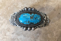 BRACELETS NAVAJO SILVER SINGLE OVAL STONE DOMED TURQUOISE JEANETTE DALE_6
