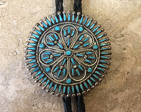 ZUNI ROUND STERLING SILVER TURQUOISE NEEDLEPOINT BOLO TIE VINCENT JOHNSON  SOLD