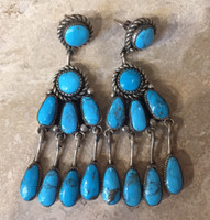 ZUNI TURQUOISE DANGLE EARRINGS ROBERT & BERNICE LEEKYA_2