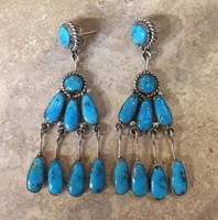 ZUNI TURQUOISE DANGLE EARRINGS ROBERT & BERNICE LEEKYA_3