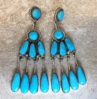 ZUNI TURQUOISE DANGLE EARRINGS ROBERT & BERNICE LEEKYA_4