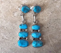 ZUNI KINGMAN TURQUOISE DANGLE STACKED EARRINGS ROBERT & BERNICE LEEKYA_2