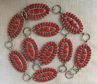 ZUNI CONCHO BELT OXBLOOD CORAL CLUSTER OVAL SHAPED LINK BELT RARE ANTIQUE ESTATE JEWELRY COLLECTABLE ALICE QUAM  SOLD