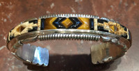 BRACELETS NAVAJO JASPER TIGER EYE ONYX JET SILVER RAISED INLAY THOMAS FRANCISCO