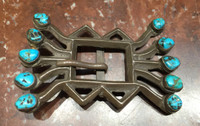 1940's BELT BUCKLE ZUNI SILVER SANDCAST TURQUOISE RARE JUAN DIDEOS