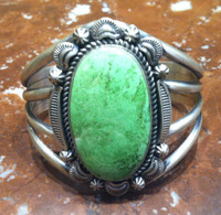 BRACELET NAVAJO SILVER GASPEITE LARGE SINGLE STONE THOMAS FRANCISCO