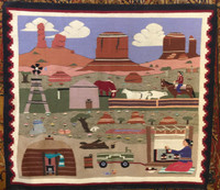 NAVAJO INDIAN RUG PICTORAL BILL NEZ