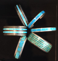BRACELETS ZUNI BLUE GEM TURQUOISE 6.5 LARRY LORETTO_1 SOLD