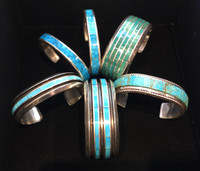 Men's Turquoise Inlay Bracelet selection... We have many, hundreds of  bracelets for men and women... here are but a few of Turquoise inlay bracelets we currently have in the Gallery as of 9/25/2019. Here you see a variety of shades and widths and styles. These are authentic Zuni Bracelets. The photos showing one bracelet is the one that you bracelet you can buy on this listing.  Others will soon be listed.