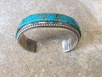 BRACELETS NAVAJO SILVER TURQUOISE INLAY SIZE 7 PRISCILLA BAHE