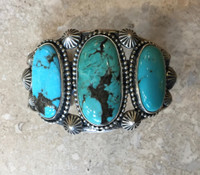 BRACELETS NAVAJO SILVER 3 STONE OVAL TURQUOISE JEANETTE DALE_12