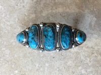 BRACELETS NAVAJO SILVER 5 STONE OVAL TURQUOISE JEANETTE DALE_13
