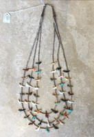 ZUNI 3 STRAND BIRD & BEAR GRADUATED FETISH NECKLACE 1974 COVERED WAGON BETH MAIZE