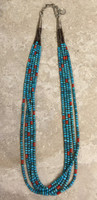 SANTO DOMINGO 5 STRAND TURQUOISE CORAL SHELL HEISHI NECKLACE KEN AGUILAR