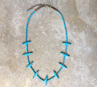 ZUNI ONE STRAND TURQUOISE HEISHI NECKLACE WITH 9 TURQUOISE FETISH BIRDS DAVID TSIKEWA SOLD