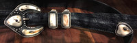 """RANGER STYLE BELT BUCKLE 1"""" TAPERED MAMMOTH IVORY ON BLACK OSTRICH LUCCHESE LEATHER 44 WAIST LEE DOWNEY"""