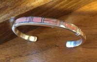 Bracelets Navajo Silver Angel Skin Coral Inlay_1