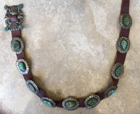 ANTIQUE 1940'S INGOT CONCHO BELT IN GEM ROYSTON TURQUOISE IN IRREGULAR SHAPES