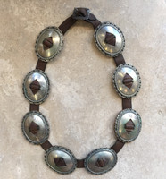 ANTIQUE 8 OVAL FIRST PHASE INGOT CONCHO BELT CIRCA 1890'S-1920'S