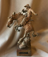 "BRONZE WESTERN COWBOY SCULPTURE ""LIL CORRAL DUST"" JACK MUIR SOLD"