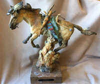 "BRONZE HORSE SCULPTURE ""WAR PONY"" JACK MUIR SOLD"