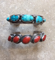 BRACELET NAVAJO PAWN TURQUOISE 5 STONE HEAVY STERLING SILVER MARK CHEE