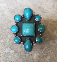 NAVAJO MULTI-STONE TURQUOISE RING MARK CHEE SOLD