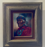 NAVAJO OIL PAINTING TURQUOISE JEWELRY WISE ELDER WITH RED SHIRT AND SILVER HAIR BLUE AND RED BANDANA ROBERT BECENTI