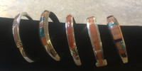 BRACELETS NAVAJO ANGEL SKIN CORAL TURQUOISE INLAY JP BEGAY SOLD
